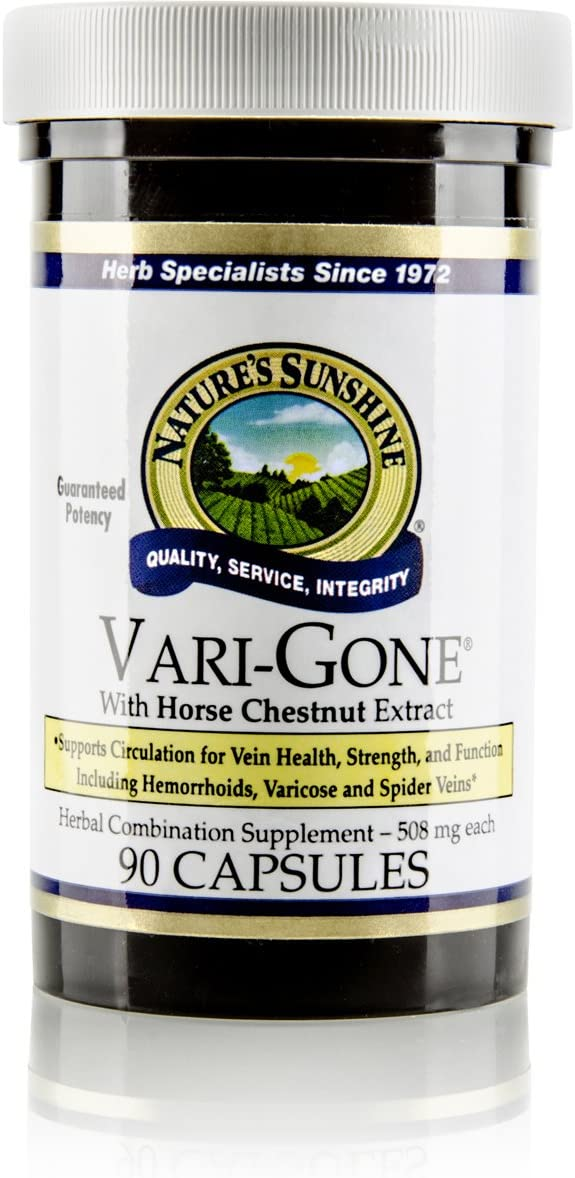 Nature's Sunshine Vari-Gone, 90 Capsules | Varicose Vein Supplements with 7 Powerful Herbs and Nutrients That Support Circulation for Vein Health, Strength, and Function