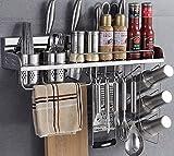 MiniInTheBox Multipurpose Stainless Steel Kitchen Utensils Organizer Holder 23.6 inch Wall Mounted Pan Pot Rack,Spice Rack, Spoon Ladle Hanger,Knife Block,Towel Rack,Silverware