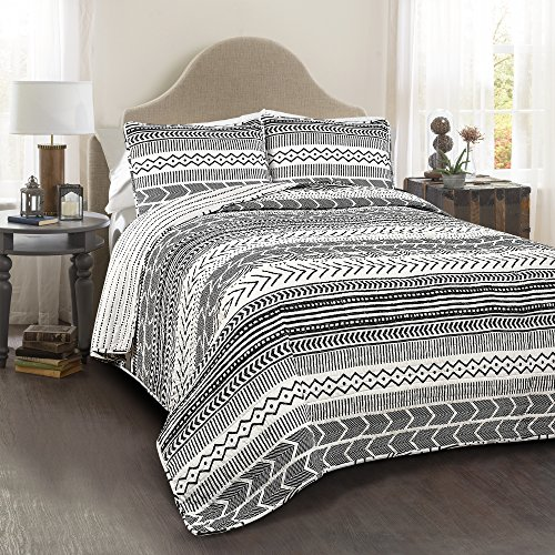 Lush Decor Hygge Geo 3 Piece Quilt Set, Full/Queen, Black/White by Lush Decor
