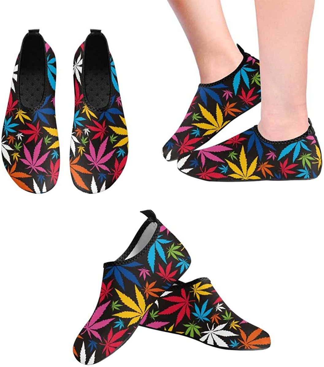 INTERESTPRINT Mens Water Shoes Colorful Cannabis Leaves Quick Dry Aqua Beach Shoes