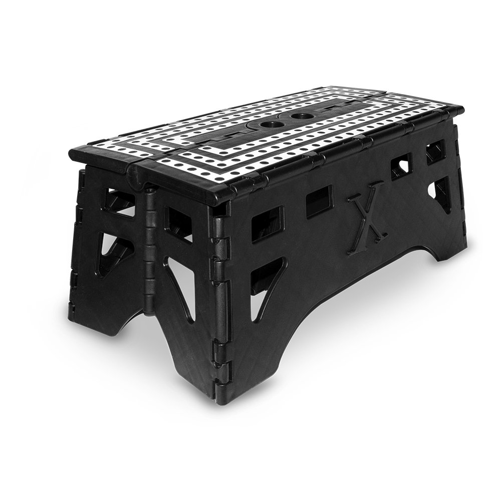 eXpace 20 Inch Extra Wide Plastic Folding Step Stool for Adults, Supports up to 500 lbs, Non Slippery Safe Multipurpose Platform with Folding Inner Leg for Extra Support, Black and White Stripes