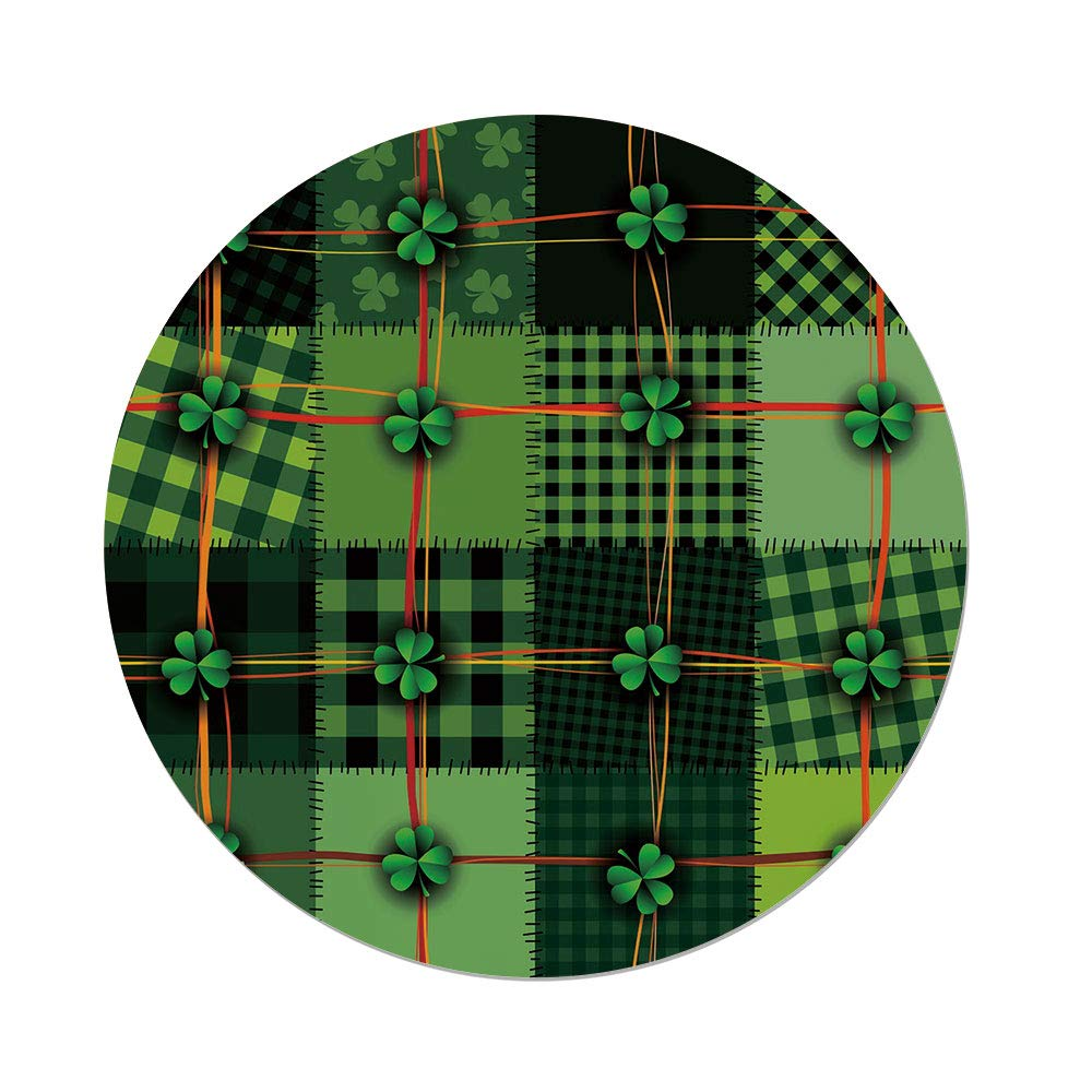 iPrint Polyester Round Tablecloth,Irish,Patchwork Style St. Patricks Day Themed Celtic Quilt Cultural Checkered Clovers Decorative,Multicolor,Dining Room Kitchen Picnic Table Cloth Cover Outdoor in
