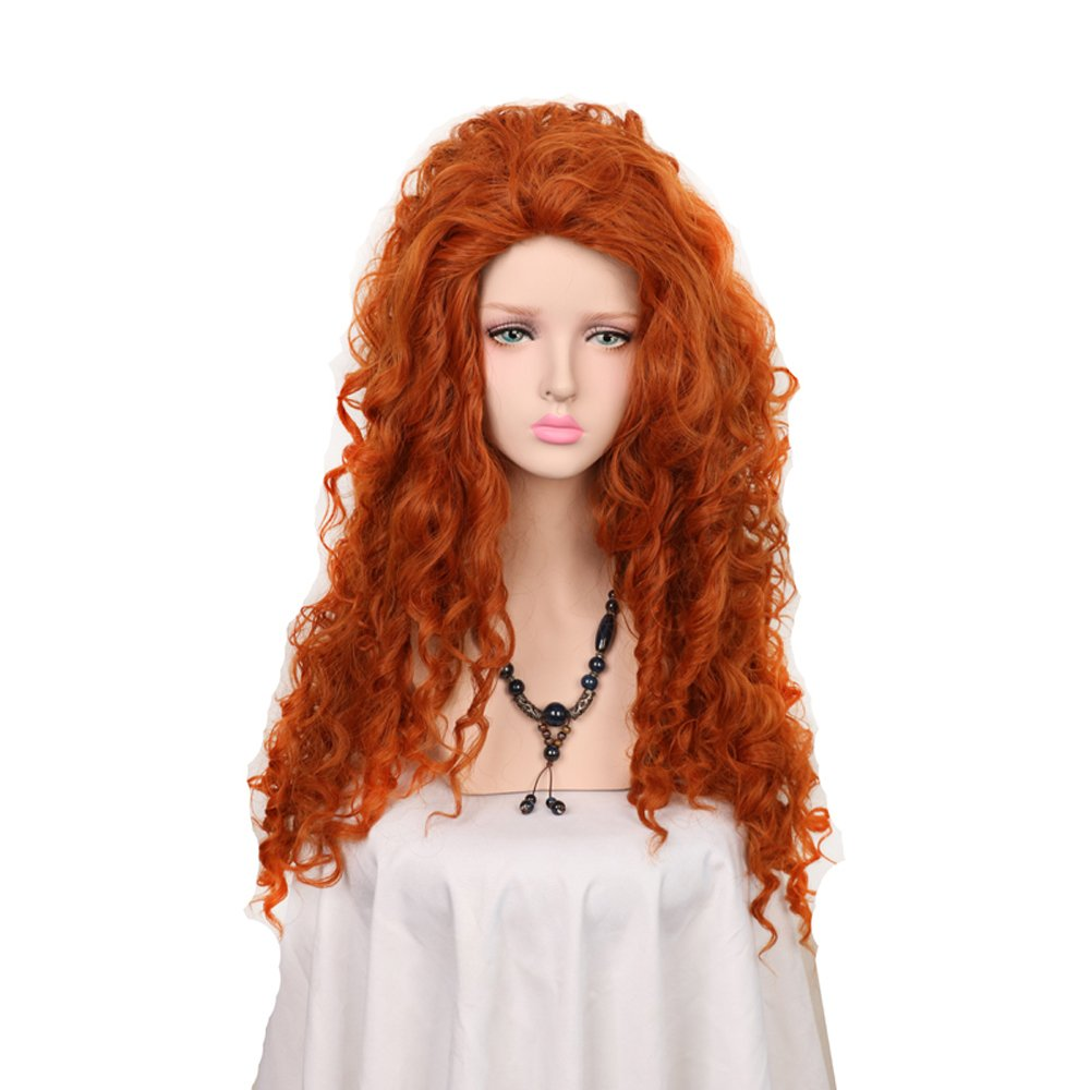 Yuehong Long Curly Orange Wig Heat Resistant Cosplay Wigs