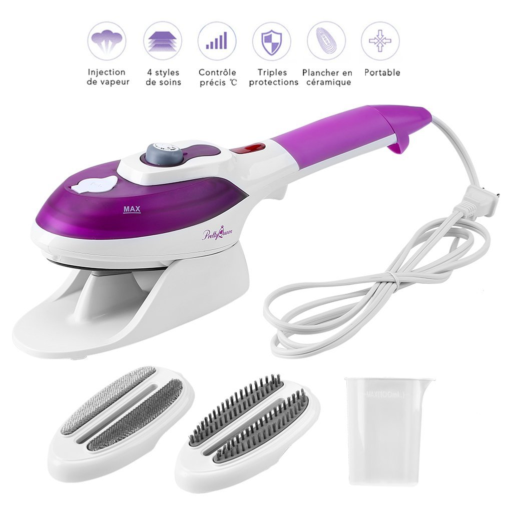 Gelma Steamer For Clothes,Garment Steamer 100ml Portable Handheld Fabric Steamer Fast Heat-up with Ceramic Soleplate Powerful Travel Clothes Steamer for Home and Travel Purple
