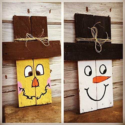 Amazoncom Two Sided Scarecrow And Snowman Sign Handmade
