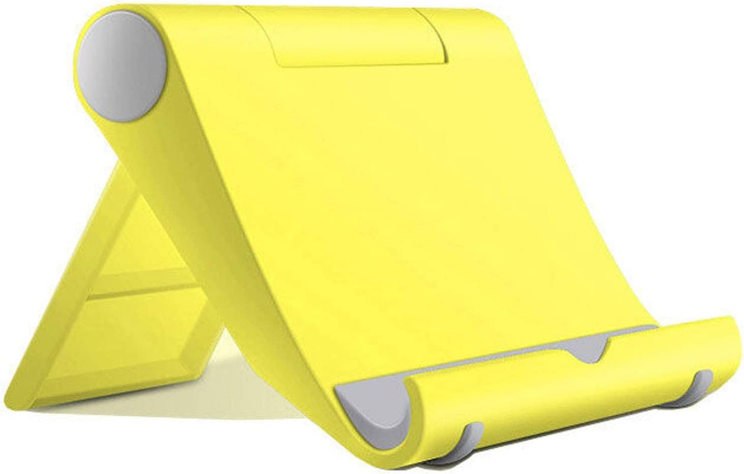 Listar Cell Phone Stand for Desk Foldable, Desk Phone Holder Stand for Office Kitchen Travel, Mobile Phone Stand for iPhone Stand Phone Dock Cradle Compatible with iPad Switch, All Smartphone (Yellow)