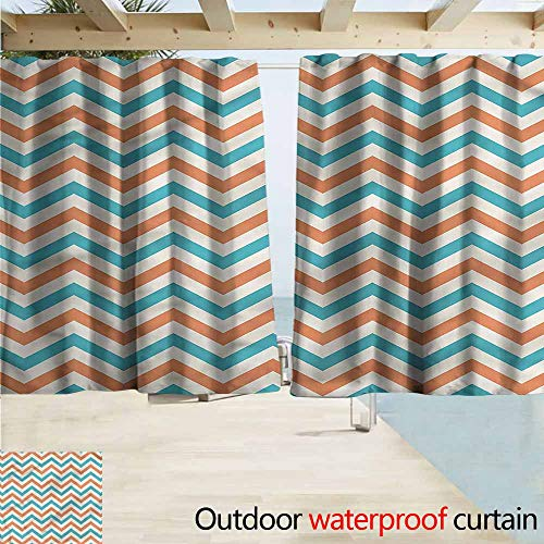 (Rod Pocket Blackout Curtain Panels Geometric Chevron Herringbone Art Room Darkening, Noise Reducing W55x72L Inches)