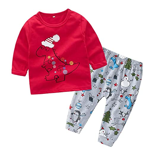 4800637ccbdb Amazon.com: Little Boys Girls Comfort Clothes Set Cartoon Little Dinosaur  Print Tops T-Shirt Adjustable Casual Pants 2 PC Set: Clothing
