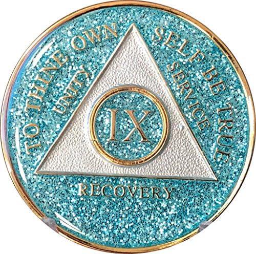 9年AA Medallion Aqua Blue Glitter tri-plateターコイズBling BlingチップIX