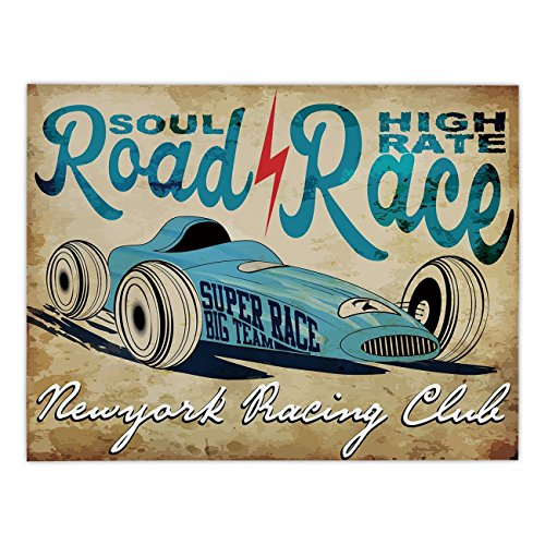 Polyester Rectangular Tablecloth,Cars,New York Racing Club Race Car from Twenties Road Race Team Old School Cool Design Decorative,Aqua Sand Brown,Dining Room Kitchen Picnic Table Cloth Cover,for Outd