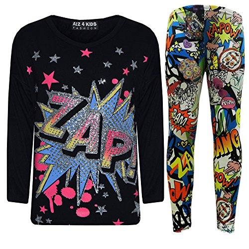 Girls ZAP Print Party Fashion Top T Shirt & Comic Book Legging Set 7-13