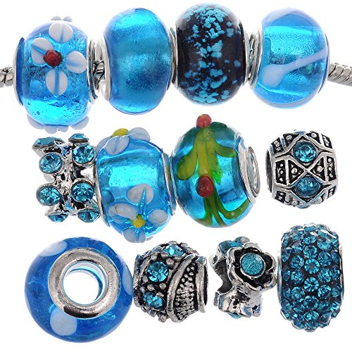 (RUBYCA Murano Lampwork Charm Glass Beads Tibetan Crystal European Bracelet Mix Assortment Blue)