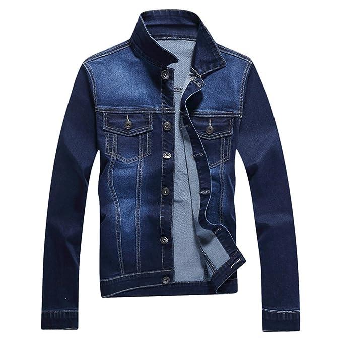 Rtro Trucker tela vaquera chaqueta diseño de moda Hombre de algodón abrigo: Amazon.es: Ropa y accesorios