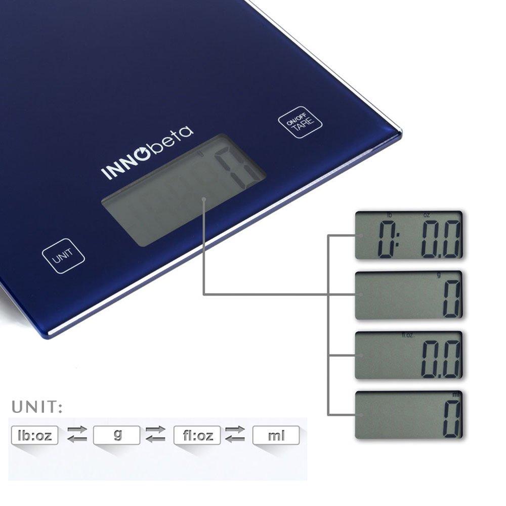 InnoBeta Báscula Digital de Cocina, Báscula Multifuncional para Alimentos, Báscula Profesional, Alta precisión desde 1g (capacidad de 5kg / 11lb), ...