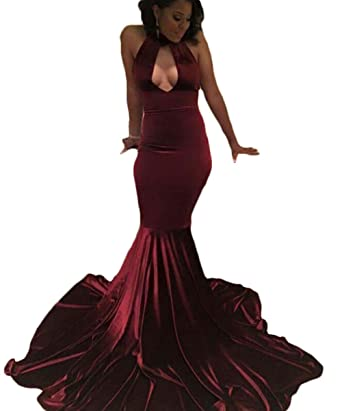 Ri Yun Sexy High Neck Backless Burgundy Velvet Mermaid Prom Dresses Long Evening Gowns 2018 Formal