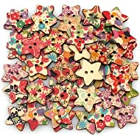 Star Shaped Painted 2 Hole Wooden Buttons 25mm