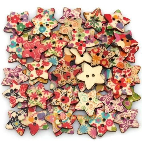 by iWorldApparel Pack Of 25pcs Star Shaped Painted 2 Hole Wooden Buttons 25mm x25mm