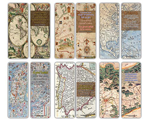 Creanoso Historical Art Map Bookmarks Cards (30-Pack) - Vintage Map Illustrations - Quote Travelers Road Trip Gift Ideas - Stocking Stuffers Gifts for Men Women Teens Kids