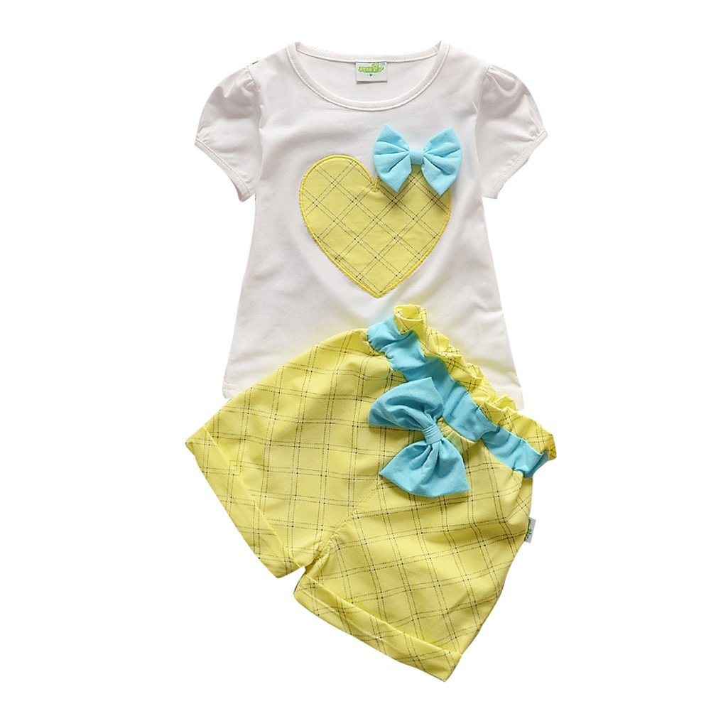 Little Girls Shorts Set Love Print T-shirt with Bow