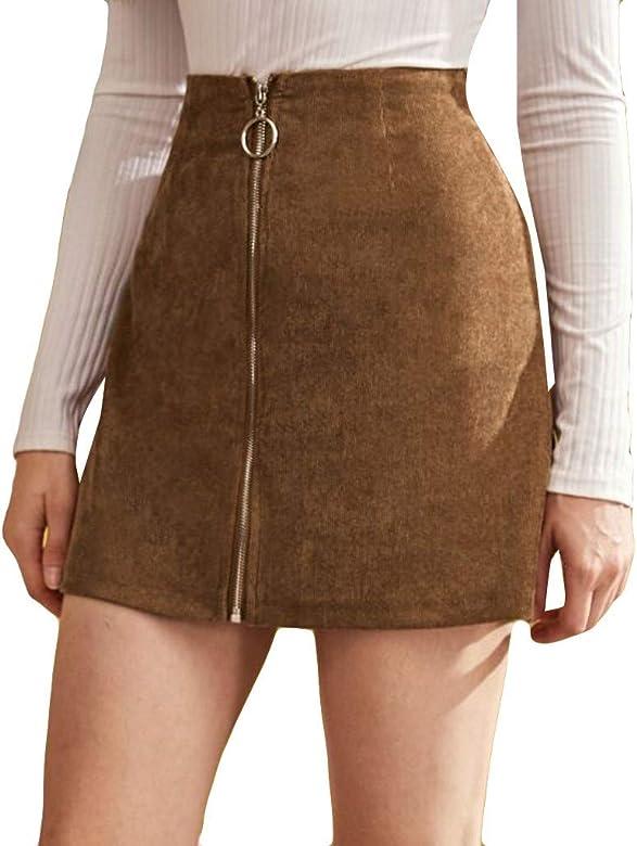 QinMMROPA Mini Falda de Pana con Cremallera para Mujer Falda de ...