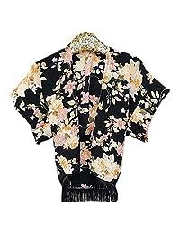 Baby Girls' Black Floral Print Tassels Long Sleeve Loose Shawl Soft Drape Cardigan