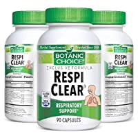 Botanic Choice Respi Clear - Adult Daily Supplement - Non-Drowse Formula Delivers Essential Minerals and Herbs Supporting Respiratory Function and Bronchial Health 90 Capsules