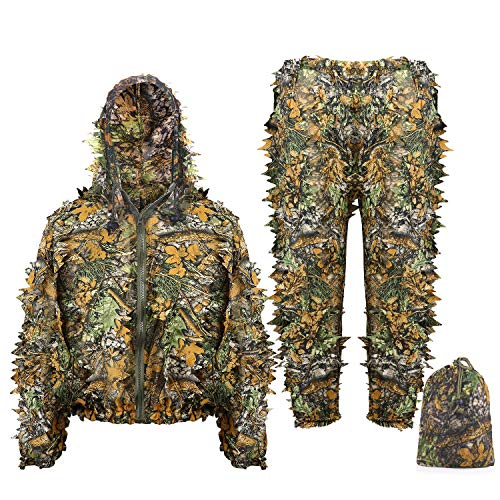 Ghillie Suit Kids Adult 3D Leafy Hooded Camouflage Clothing Outdoor Woodland Hunting Suit Sniper Costume Camo Outfit for Jungle Hunting, Military Game, Wildlife Photography, Halloween