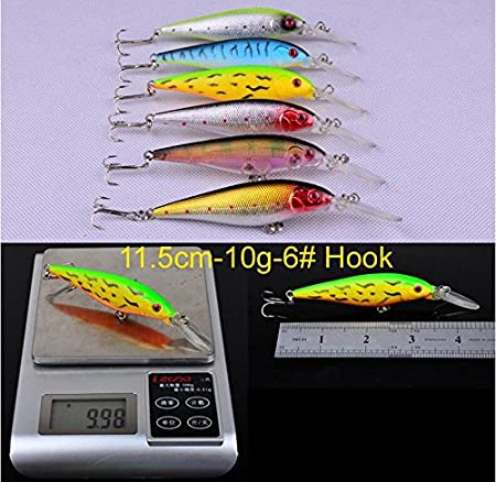 6 X Green White Soft Lures 5cm Fishing Bait Tackle