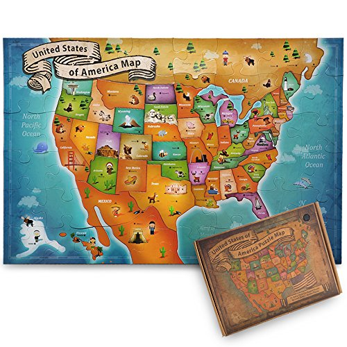 [USA Map Jigsaw Floor Puzzle - Best Brain Teaser Puzzle for Kids and Adults - Thick Puzzle Pieces with Easy-Clean Surface - Promotes Hand-Eye Coordination and Problem Solving] (Animals That Start With The Letter E)