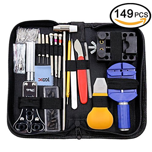 Watch Repair Kit, Professional Watch Battery Replacement Tool Link Remover Deluxe Watch Band Tool Set with Carrying Case for Repairing Quartz/Mechanical Wrist Watch, Citizen Watches and More 149 (Wrist Watch Batteries)