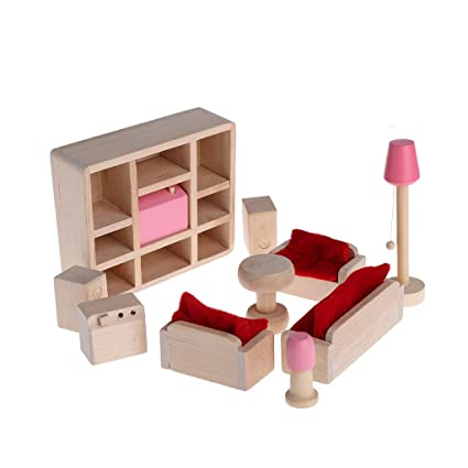 Bettal Wooden Furniture Dolls House Miniature 6 Room Set Doll Toy Gift For  Children Kid