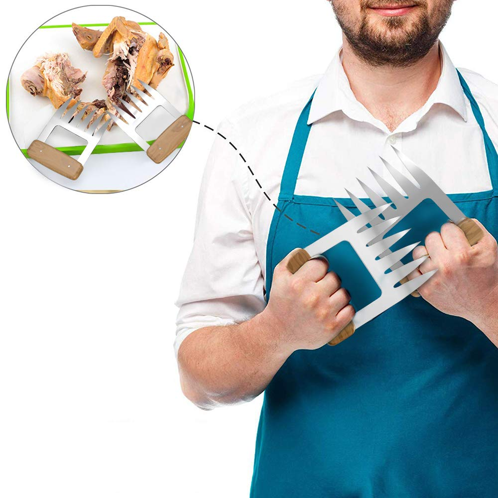 Meat Forks for Pulling Pork Turkey Brisket 2PCS Chicken Metal Bear Claws with Wooden Handle for Handing Lifting Carving Beef 18//8 Stainless Steel Shredder Claws Meat Claws