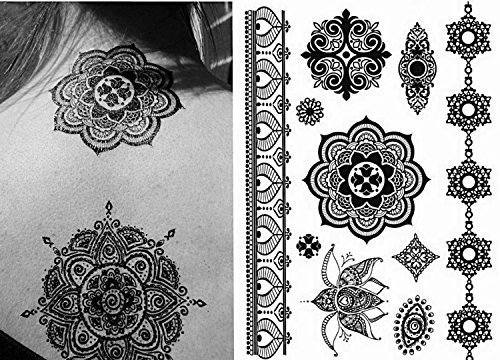 Henna Tattoo (6 Sheets) Body Paints Temporary Tattoo Designs Feathers/Mandala/Cats/Lotus/Bracelet/Elephant/Birds and more by Gilded Girl (Image #1)