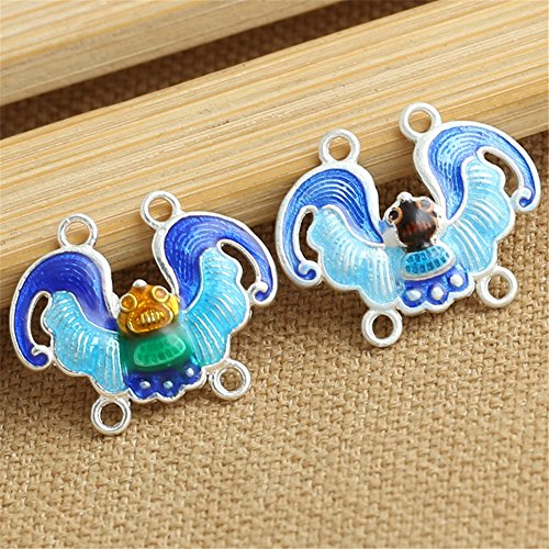 Luoyi 1pcs Golden Plated Sterling Silver Dangle Bead, Lucky Bat Cloisonne Fit DIY Brooch, 19*24mm, Hole: 1.8mm (T078L) (B)