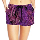 Women Shorts Elastic Waist - Red Purple Fine Leaves