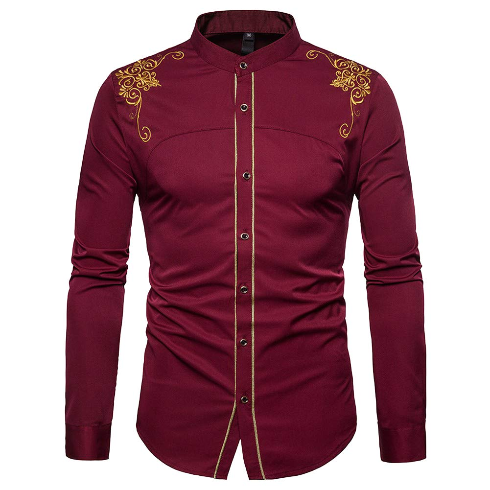PIZZ ANNU Men's Button Long Sleeve Shirt Retro Shirts Tops Embroidery (XL, Wine red)