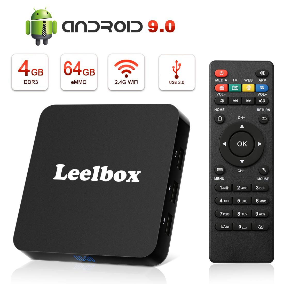 Android TV Box 9.0, 4GB RAM 64GB ROM Leelbox Q4 Plus RK3328 Quad Core Smart TV Box Support USB 3.0,BT 4.1,2.4GHz WiFi,3D 4K H.265 by Leelbox