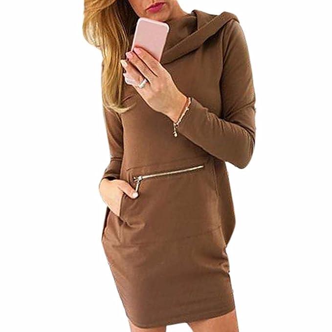 Sudadera con capucha del bolsillo delantero de manga larga vestido de mujeres adelgazan los vestidos del