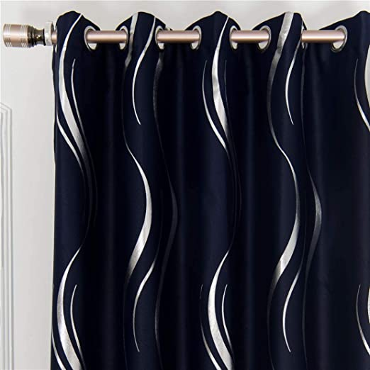 Amazon Com Myru 1 Pair Blackout Curtains For Bedroom Luxury Striped Curtains For Living Room Navy And Silver 2 X 54 X 63 Inch Furniture Decor