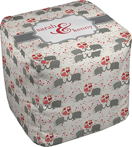 RNK Shops Elephants in Love Cube Pouf Ottoman - 13'' (Personalized) by RNK Shops