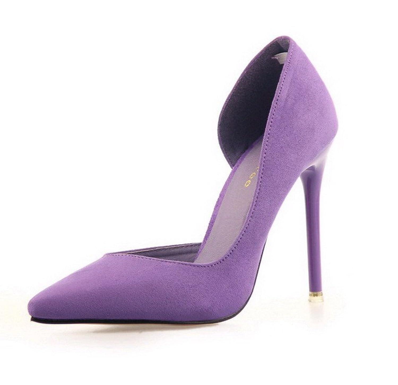 AalarDom Women's Pull-On Pointed-Toe High-Heels Solid Pumps-Shoes