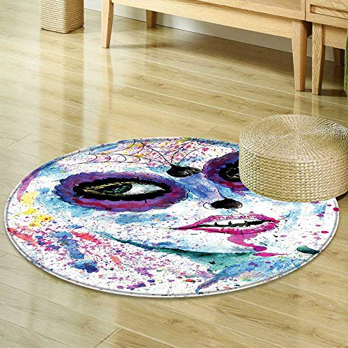Mikihome Round Rugs for Bedroom Girly Decor Grunge Halloween Lady with Sugar Skull Make Up Creepy Dead Face Gothic Woman Artsy Print Blue Purple Circle Rugs for Living Room -