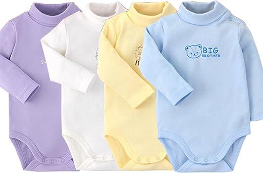 سالوبيت للأطفال الرضع من الأولاد والبنات بأكمام طويلة من القطن برقبة على شكل سلحفاة ملابس الخريف والشتاء