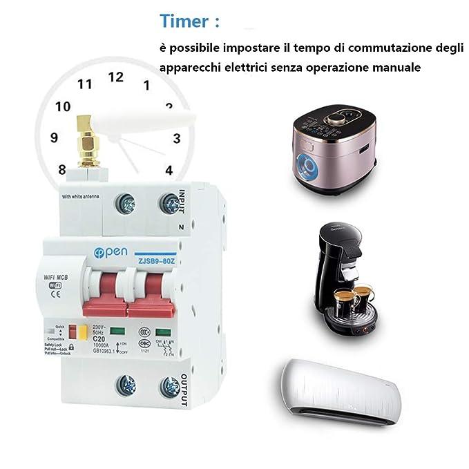 125 A Lot de 2 t/él/écommandes de 16 A Commutateur de synchronisation//temporisation 16A Fonction verrouillage intelligent de disjoncteur /à r/éenclenchement et de disjoncteur Wifi