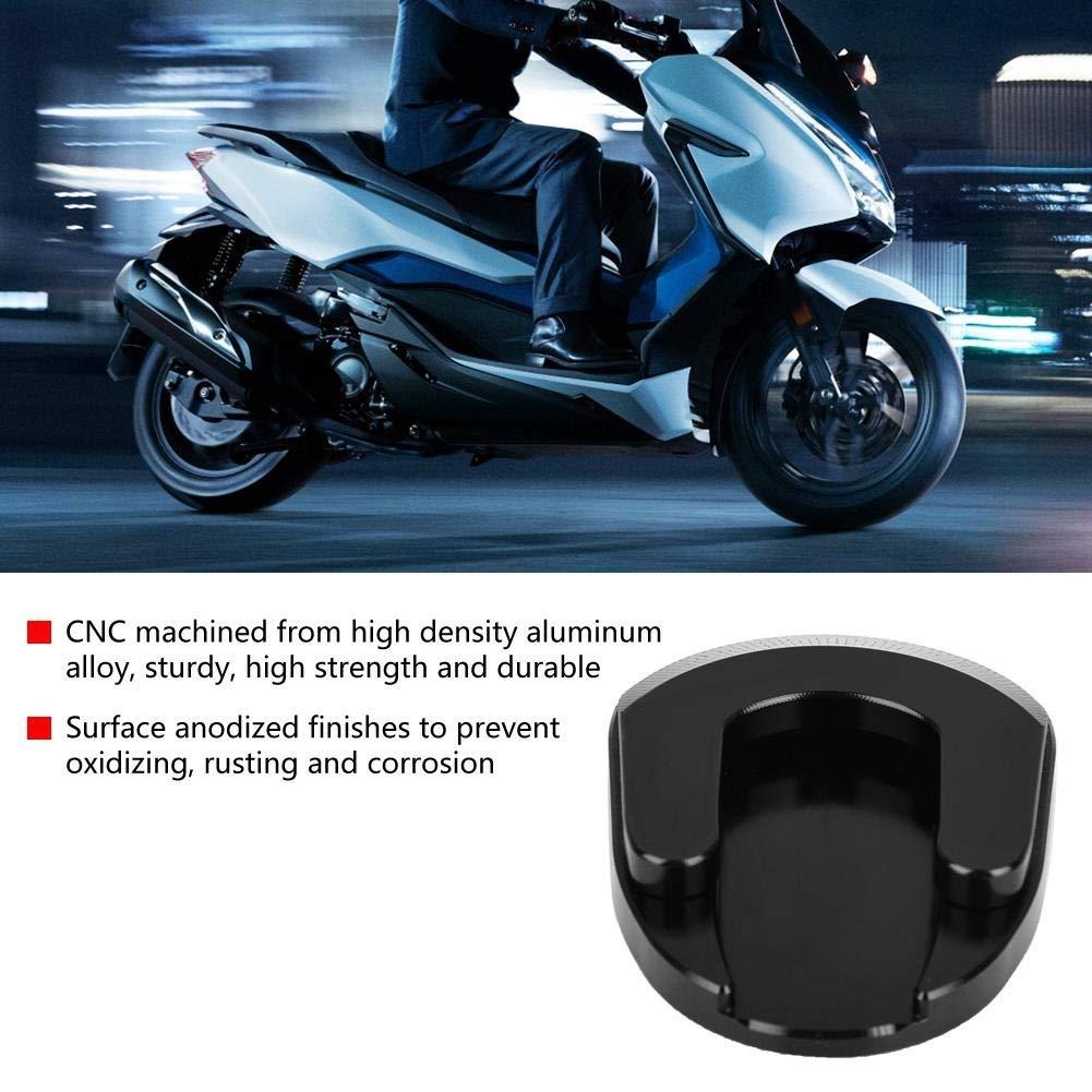 1 PC di Motorcycle CNC Alluminio Antiscivolo Cavalletto Coperchio ingranditore per Honda Forza 300 18-19. Kickstand Pad Colore : Black Nero e Titanio