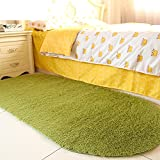 moonrug Ultra Soft Fluffy Oval Area Rugs Shaggy Living Room Rug Solid Color Non-Slip Bedroom Bedside Rug Runners 2.7' x 5.3', Green