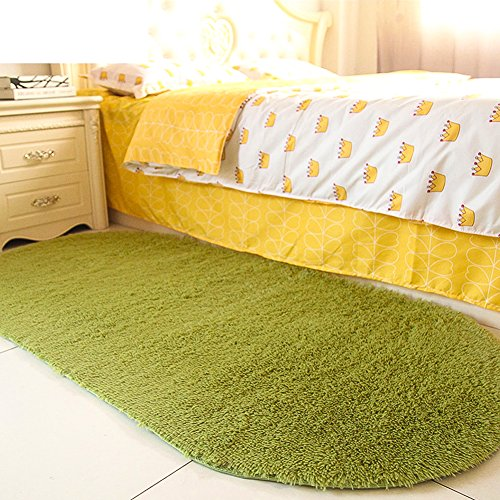 moonrug Ultra Soft Fluffy Oval Area Rugs Shaggy Living Room Rug Solid Color Non-Slip Bedroom Bedside Rug Runners 2.7' x 5.3', Green (Rug Small Green)