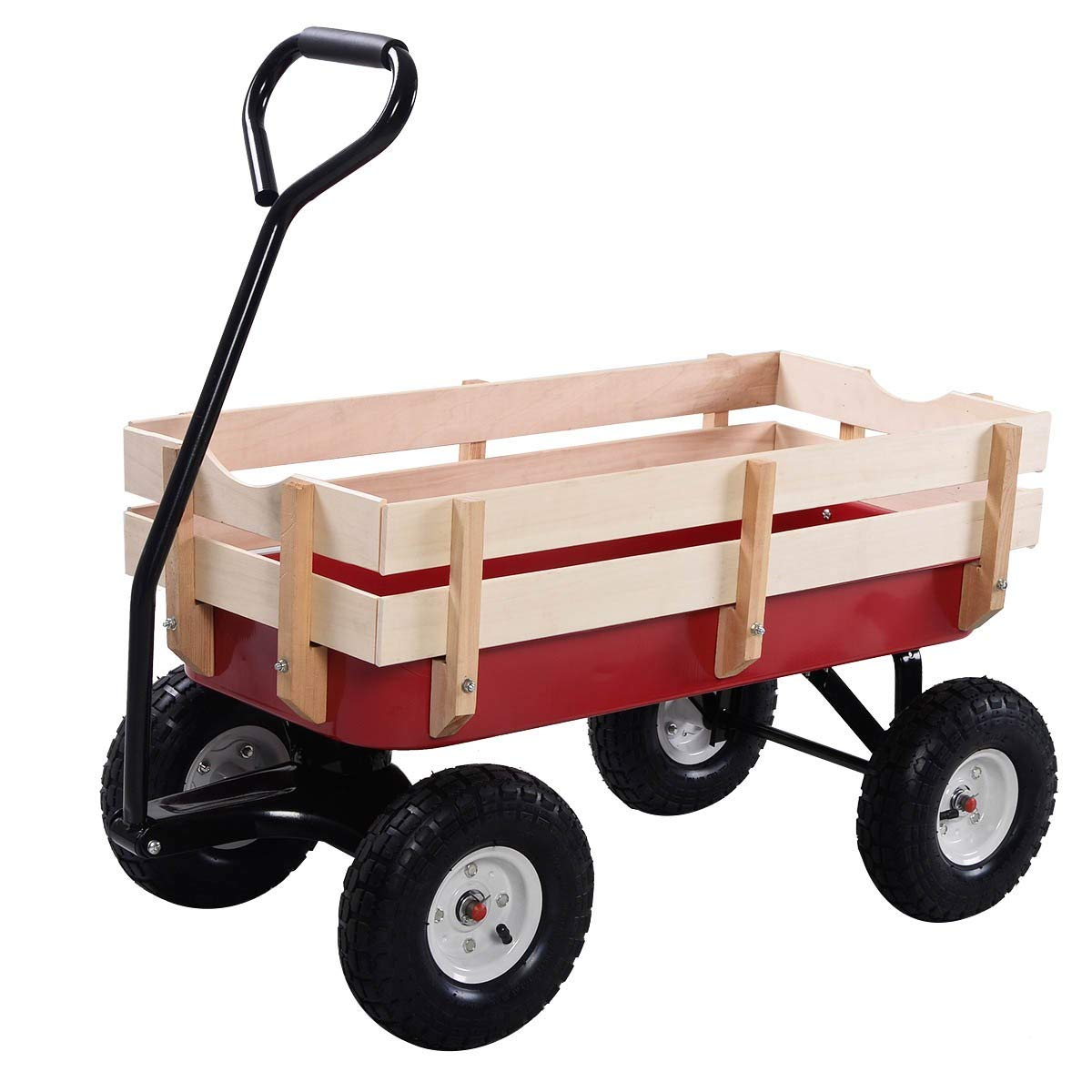 Dayanaprincess Outdoor Pulling Garden Cart Wagon with Wood Railing Removable Wooden Side Panels Bed Solid Construction Yard Lawn Decor by Dayanaprincess