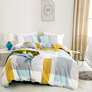 Cottonight Plaid Duvet Cover Sets Queen Boys Modern Bedding Set Full Yellow Blue Bedding Duvet Cover Sets Graffiti Cotton Super Soft