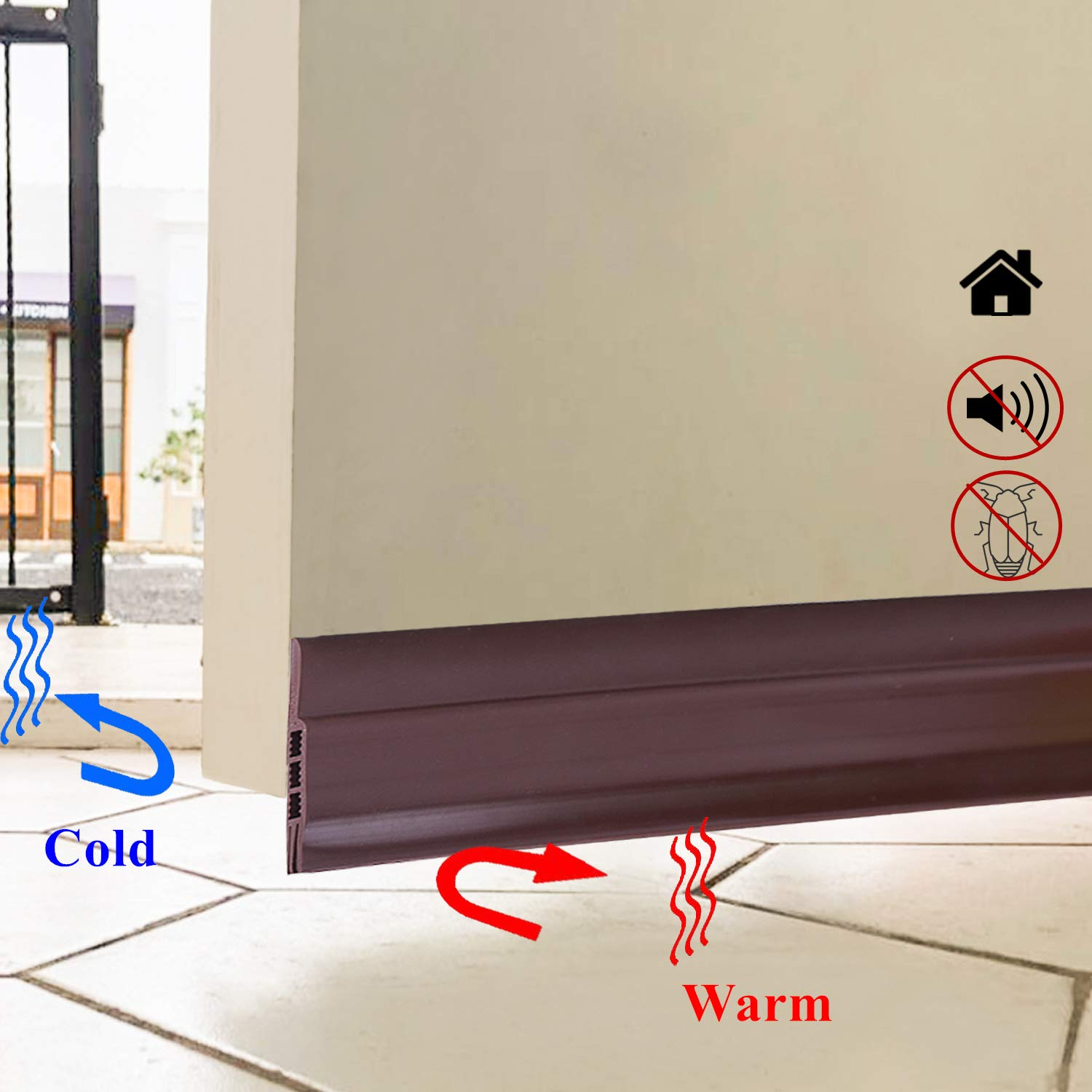 YIPINTANG Under Door Seal, Door Draft Stopper Noise Stopper, Strong Adhesive Door Weather Stripping Energy Saver - 2'' Width x 47'' Length (Brown) by YIPINTANG